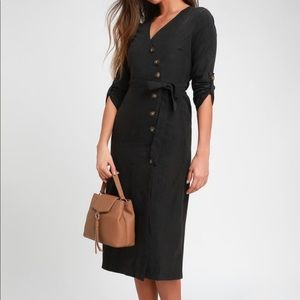 Suede button-up midi dress